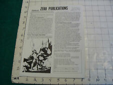 Vintage Original sci fi ZERO PUBLICATIONS info paper from 1972 but not dated