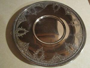 "Antique Sterling Silver 10"" Plate  Hallmarked Cutwork Art Noveau 308 gr"