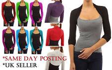 Womens Plain Long Sleeves Cropped Bolero Shrug Top Ladies Cardigan Plus Size*bol
