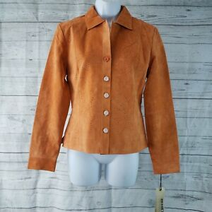 In Suede Womens Jacket Sz XS Orange Suede Leather Perforated Button Front
