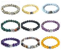"Handmade Natural Gemstone Beads Elastic Stretch Bracelet 6/8/10 MM Round 7"" Long"