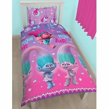 Trolls Glow Single Duvet Cover Set Rotary Design Pink and Purple Dreamworks