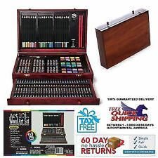 142 Piece Deluxe Art Creativity Set Wooden Case Painting pencil pastel Art 101