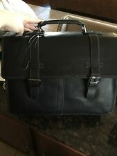 Kenneth Cole Reaction Black Leather Executive Laptop Briefcase Flap-py Go Lucky