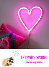 LED Fairy Night Light Neon Pink Love Heart Kids Bedroom Dimmable Remote USB