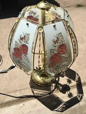 6 Glass Panel Touch Butterfly/Rose Brass Table Lamp