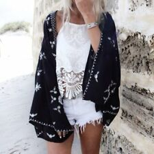 Womens Loose Floral Cardigan Shawl Kimono Boho Jacket Beach Cover Up Blouse Top
