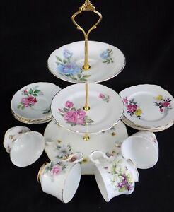 Ailsa: Vintage China Shabby Chic 13 Piece Mismatch Tea Set with Cake Stand