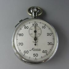 Vintage Minerva Swiss Manual Wind Pocket Stop Watch / 7 Jewels - Non Working