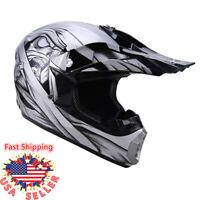 DOT Silver Adult Motorcycle Motocross Off-Road ATV Dirt Bike Snowmobile Helmet