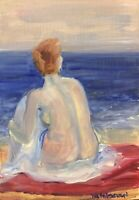 Print of Original oil painting woman on beach contemporary art  vintage style