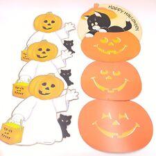 Lot of 4 Vintage Halloween Paper Decorations ~ Ghost w/Pumpkin Head, Black Cat