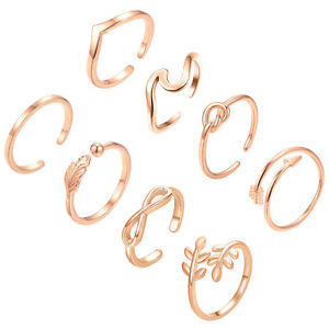 8P Set Opening Ring Fashion Jewelry 925 Sliver Plated For Wemon Wedding Gift W57