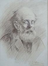 JOHN SAMUEL WATKINS (1866-1942) RARE Original chalk Old Man 1900 Norman Lindsay