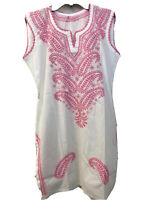 Women's White Top Tunic V Neck Sleeveless Embroidered Pink Sz S