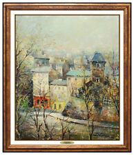 Luicen DeLarue Painting RARE Original Oil On Canvas Cityscape Signed French Art