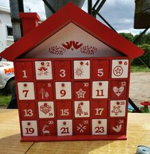 USED Red & White Wooden Advent House, Christmas