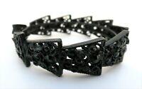 "Antique Vtg Mourning Bracelet Black Metal W Black Rhinestones Hinged Cuff 8"" Lon"