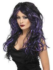Gothic Bride Wig Ladies Halloween Black & Purple Fancy Dress Wig New
