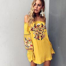 Retro Bohemian Floral Embroidered Dress Off-Shoulder Boho Mini Beach SunDress