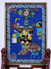 Chine XIX/XXème Ecran de lettré en bois et bronze cloisonné China Qing 文人画 cina