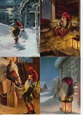 4 NEW Assorted Swedish Christmas Postcards by artist Anders Olsson Tomte Gnome