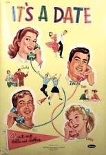 Vintge 1956 It'S Its Date Paper Doll ~16 Fashion Pgs~Lasr Repro~Org Sz Unc Lo Pr