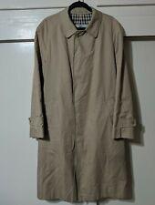 VTG Aquascutum Aqua 5 Men's Trench Coat Overcoat Size 40 Long Full Length Tan