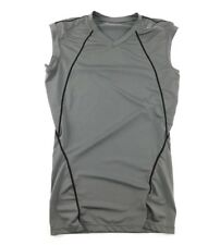 Tesla Mens Gray Sleeveless Fitted Athletic Compression Shirt Small