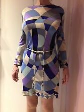 Vintage 60s Emilio Pucci Psychedelic Silk Knit Dress + Crystal Belt Size 10