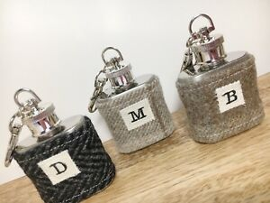 TWEED Mini HIP FLASK Keyring | Initial KEYRING | TARTAN | Mini Hip Flask