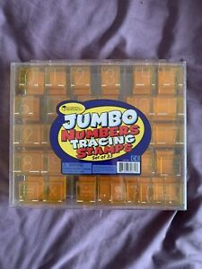 Learning Resources - 33 Jumbo Number Tracing Rubber Stamps & Case Teaching - New