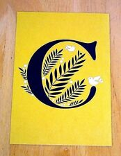 JESSICA HISCHE TYPOGRAPHIC POSTCARD ~ DAILY DROP CAPITAL LETTER ~ GOLD C ~ NEW