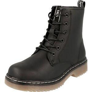 Fabs Mädchen Schuhe Stiefel Bootys Schnürer A84503.10 Schwarz Reißverschluss NEU