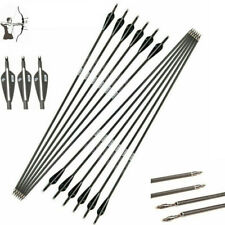 "12Pcs 30""Carbon Shaft Archery Arrows Tips Target For Compound/Recurvebow Hunting"