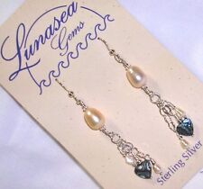 LUNASEA TREASURES PEARLS ABALONE SHELL HEART BEADED STERLING SILVER EARRINGS NEW