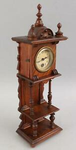 Antique Early 20thC Miniature Walnut Grandfather Clock  NO RESERVE