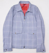 NWT $2395 ISAIA Sky Blue Glen Check Cotton-Wool-Cashmere Bomber Jacket 56/XXL