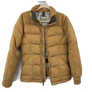 burton Snowboard Gray Duck Down Women's Insulated Jacket Sz S Faux Suede Gold