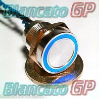 PULSANTE PIEZOELETTRICO 16mm LED BLU 12V auto moto piezo switch interruttore