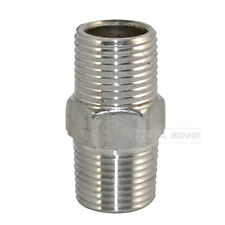 """3/8"""" Male x 3/8""""  Male Hex Nipple Stainless Steel 304 Threaded Pipe Fitting BSPT"""