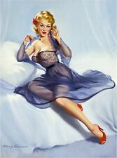 1940s Pin-Up Girl The Purple Nightgown Picture Poster Print Art Pin Up
