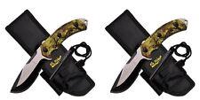 "Lot of 2 Elk Ridge 9.25"" Camo Fixed Blade Knife w/ Fire Starter Er-537Ca New"