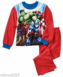 Disney Marvel Avengers 4 5 6 7 8 Flannel Sleepwear boys PajamasThor Ironman Hulk