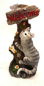 Vintage Ceramic Cat & Mouse on Tree Welcome Greeting Candle Holder Home Decor