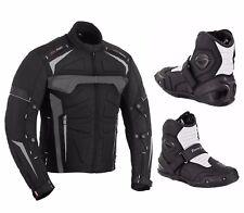 Motorbike Motorcycle Armoured Waterproof Jacket Touring Shoes Biker Leather Boot