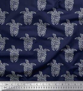 Soimoi Fabric Turtle Block Print Fabric by the Yard - BP-641E