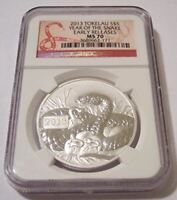 Tokelau 2013 1 Ounce Silver 5 Dollars Year of the Snake MS70 NGC Early Releases