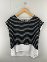 French Connection Womens Black White Stripe Casual Sleeveless Blouse Top Size 10