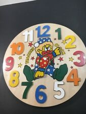 Vintage Wooden Clock Puzzle - Helps Teach Time - New Sealed